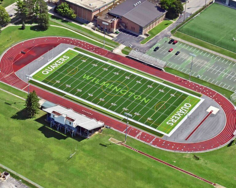 Aerial view of Wilmington College field