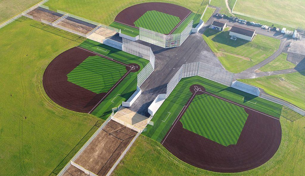 Aerial view of three baseball fields