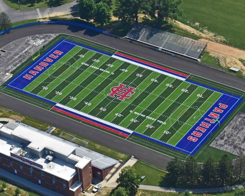 Aerial view of Hanover College field