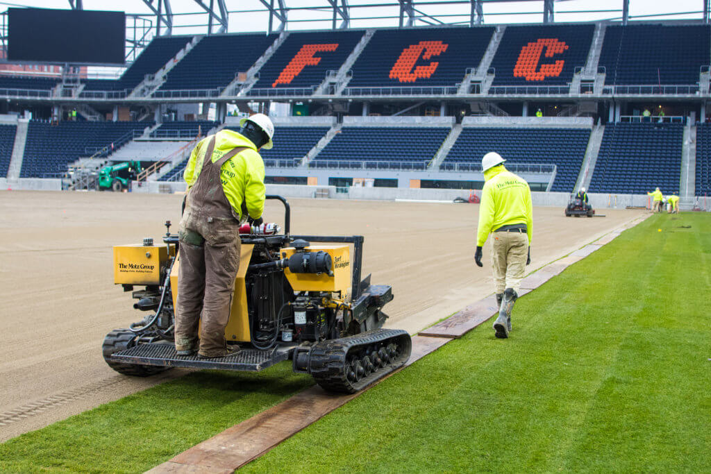 The Motz Group FC Cincinnati West End Stadium Sports Field - Sod Install - MLS Playing Surface