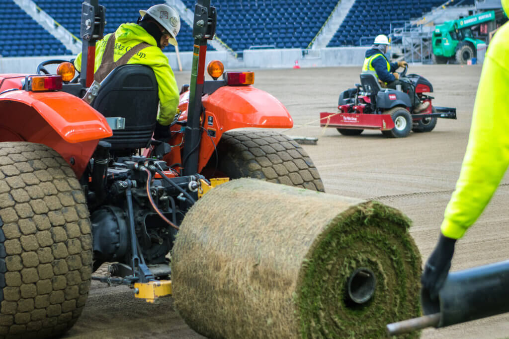 The Motz Group FC Cincinnati West End Stadium Sports Field - Sod Install Roll Close Up - MLS Playing Surface