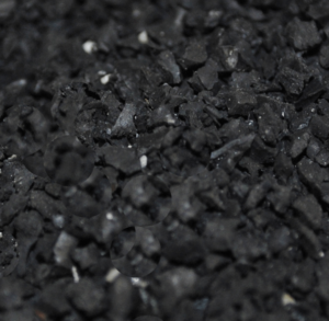 Close up view of crumb rubber infill