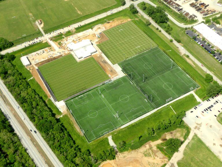 Aerial view of the Louisville City FC training center