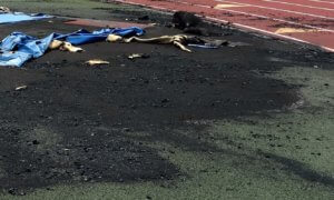 close up of melted turf from a fire