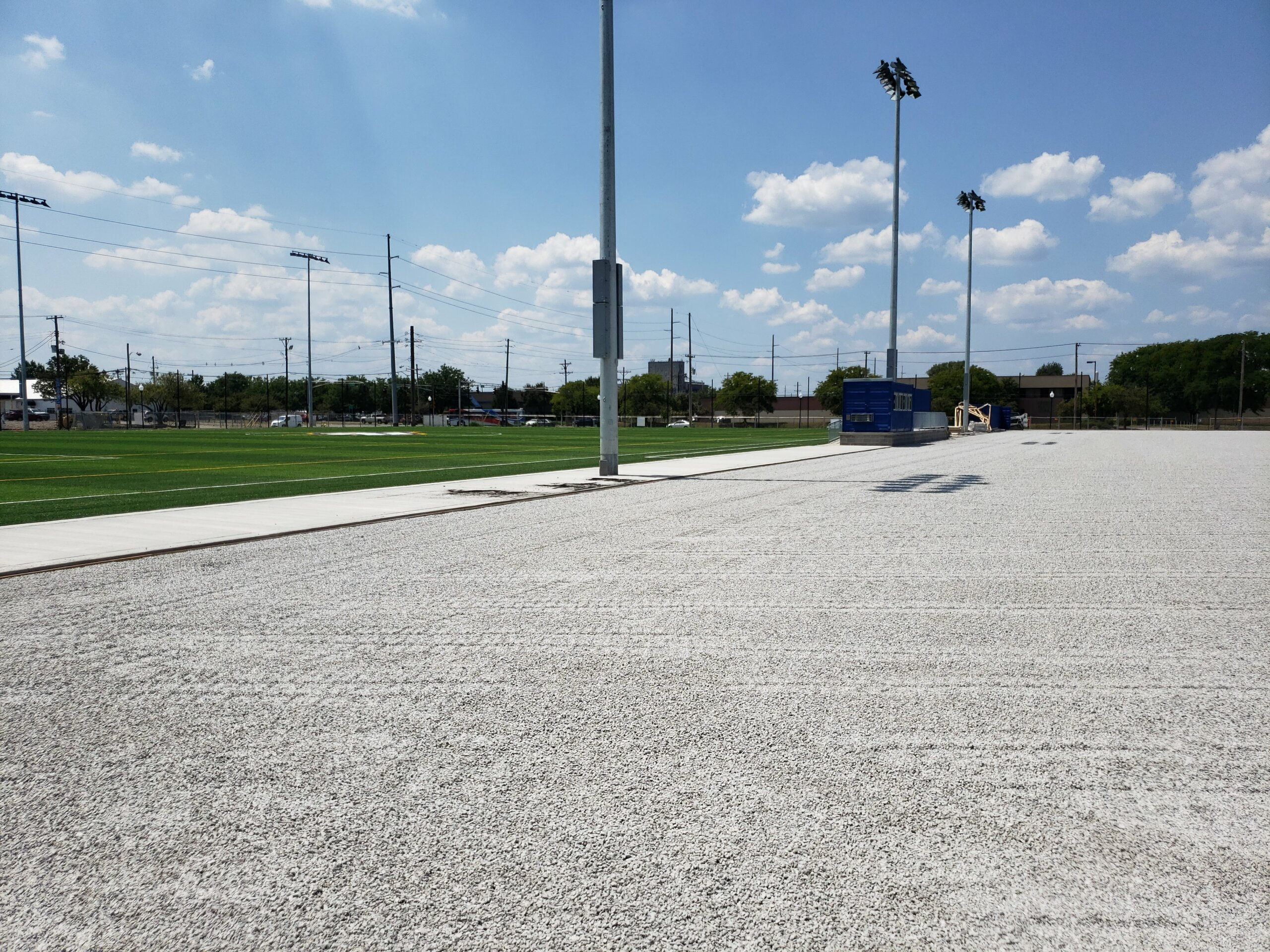 field under construction - laying pad and turf