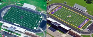 before and after comparison photo of butler high school